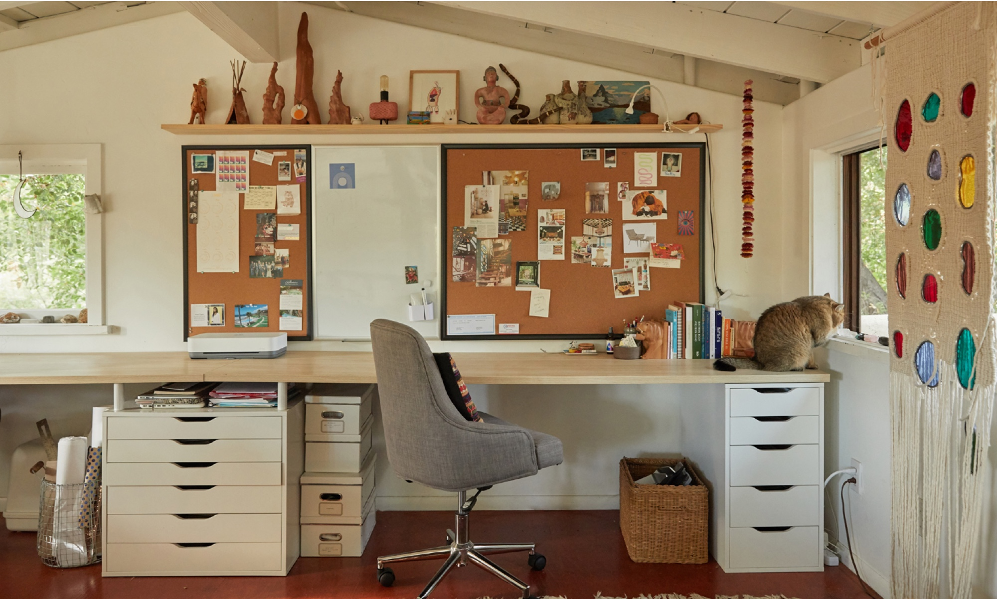 A desk area in Sally's workshop.