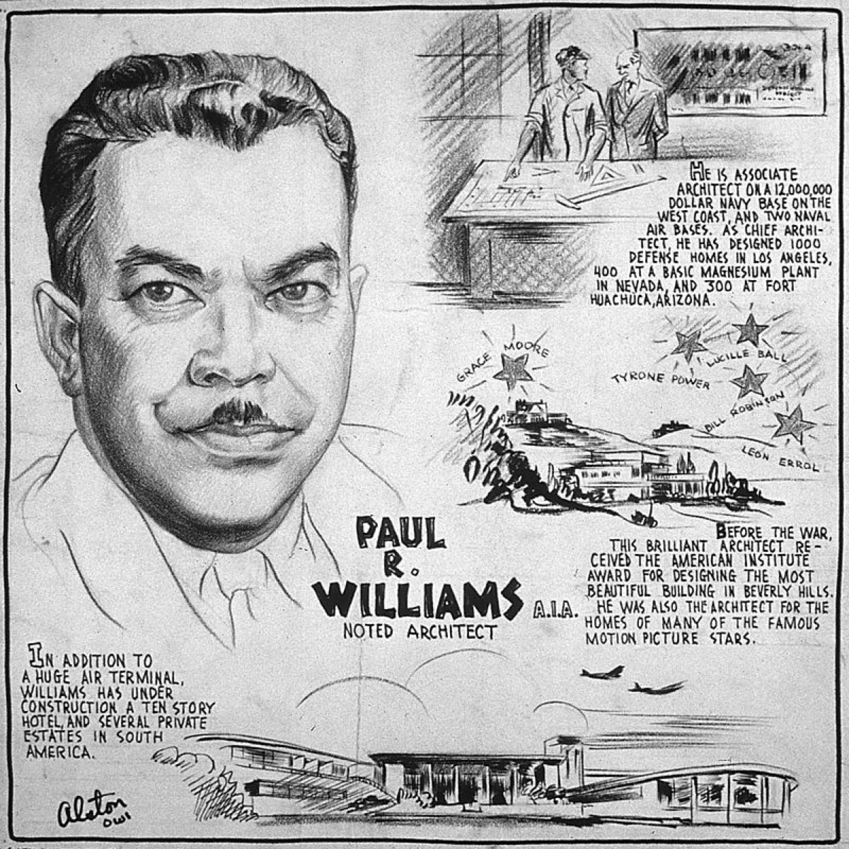 An illustrated guide to Williams, created during his time working for the Army Corps of Engineers. Image via the Paul Revere Williams Project.