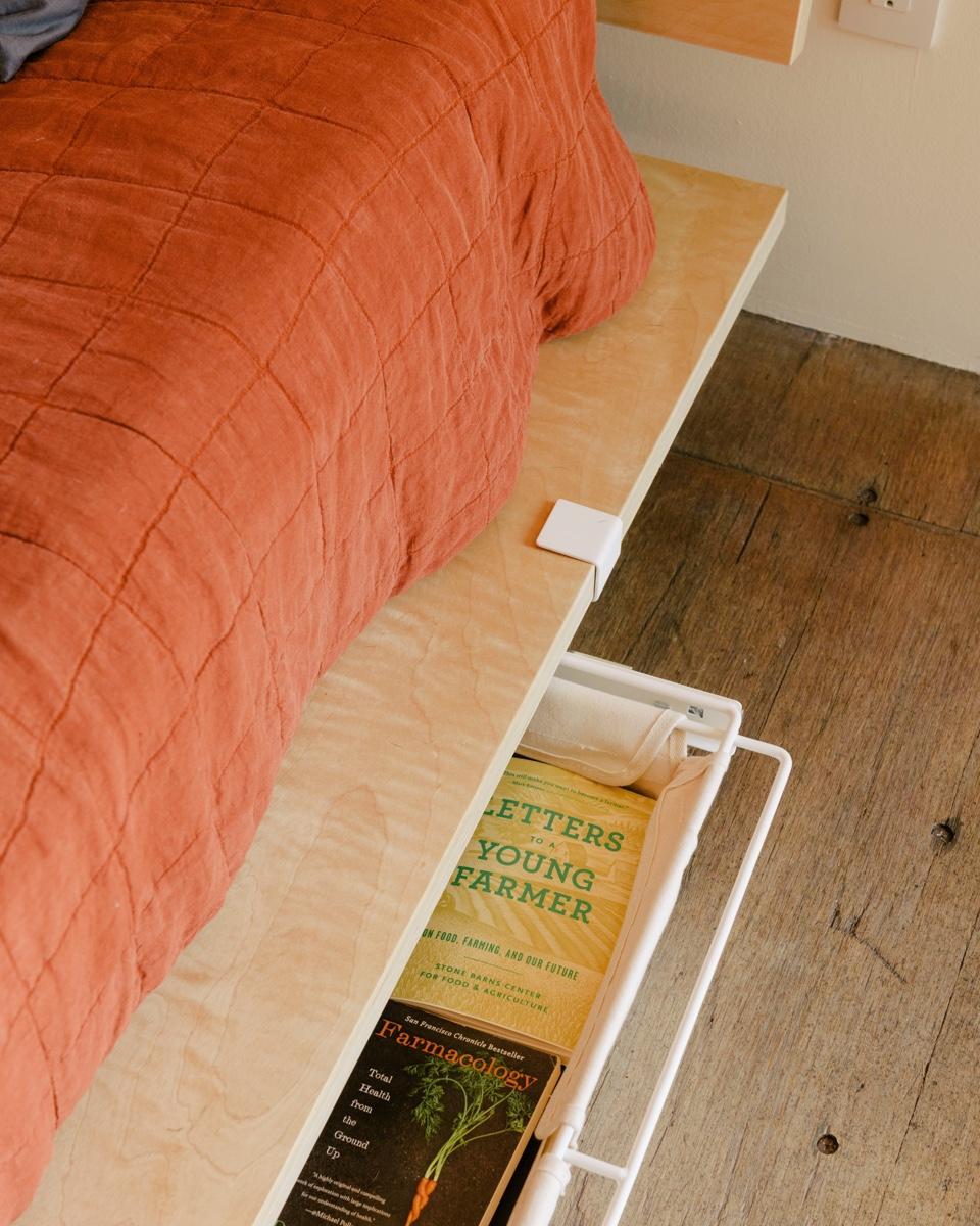A floyd underbed storage drawer in a modern home.