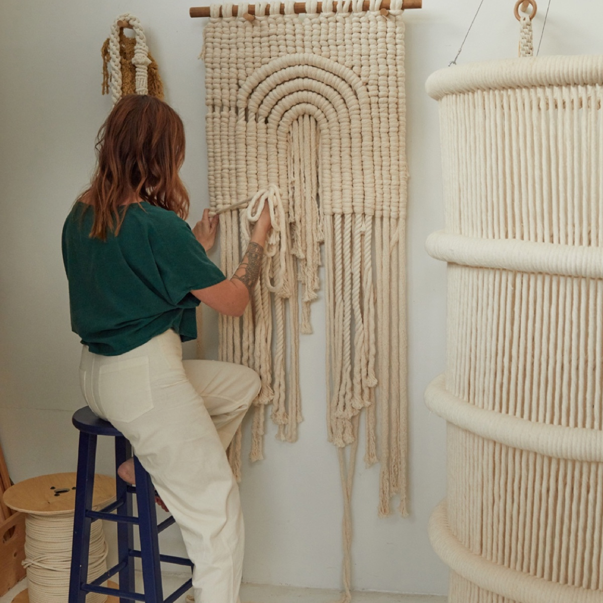 Sally has a home workshop where she creates her large-scale fiber pieces.