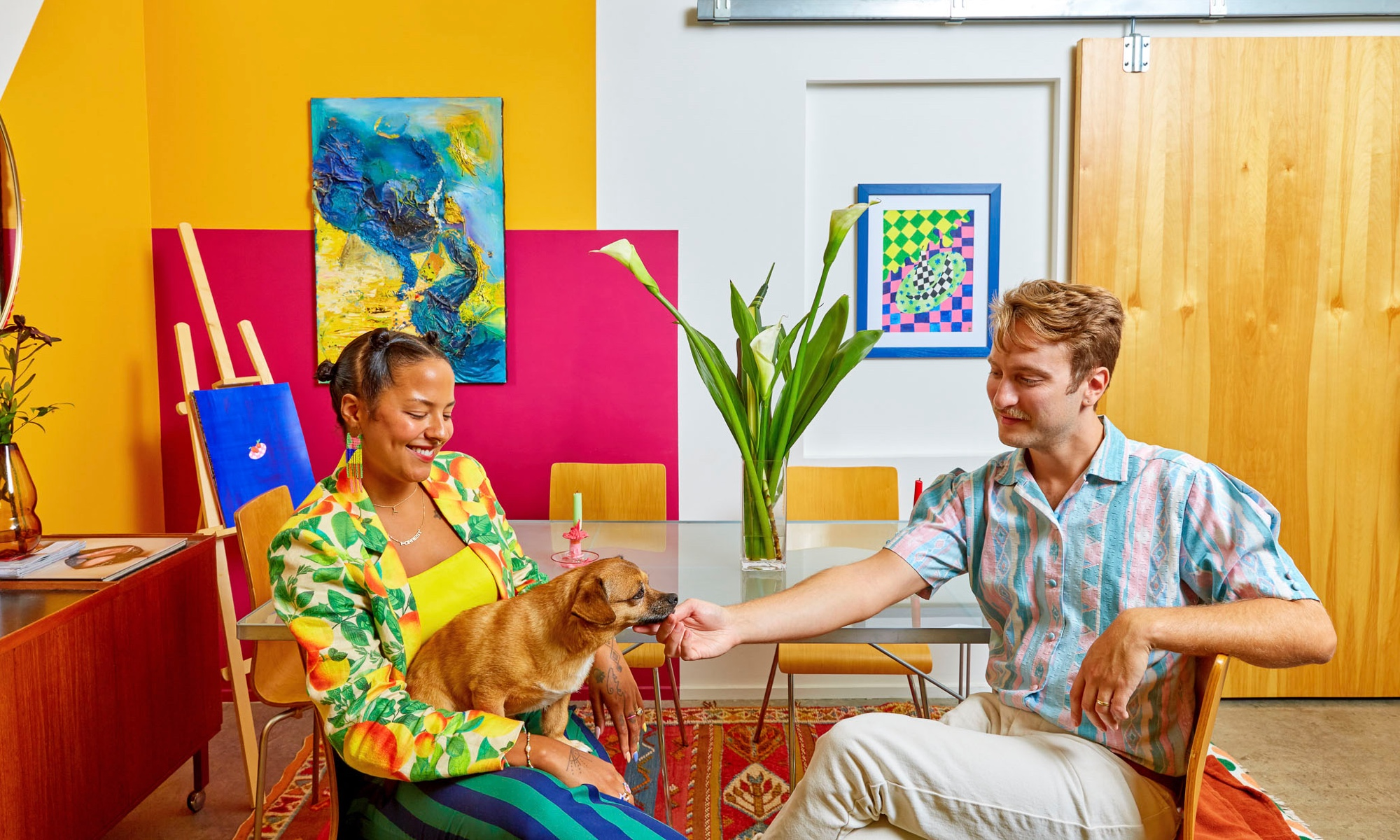 Michelle Norris and Forrest Aguar (and pup Taco) in their Atlanta home.