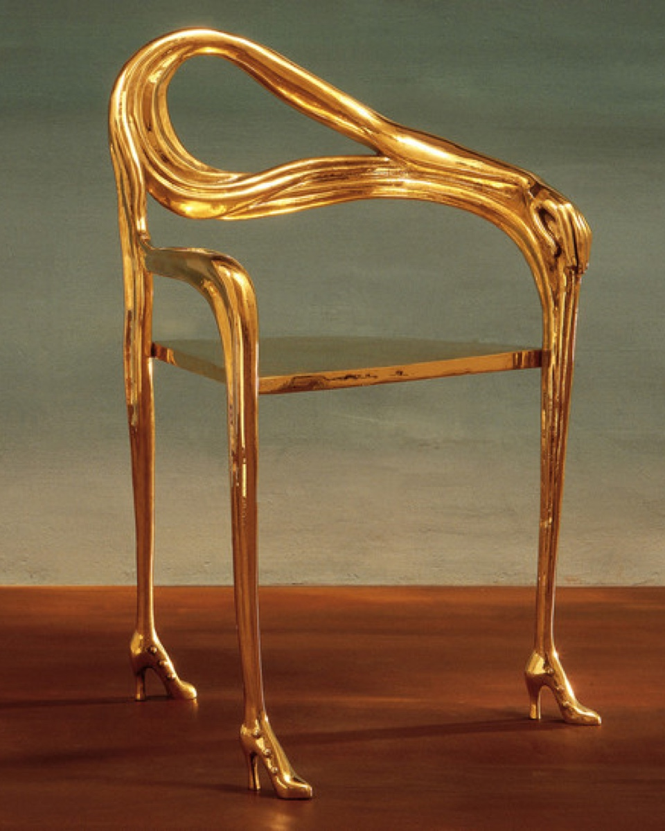 The Leda chair in gold leaf by Salvador Dali