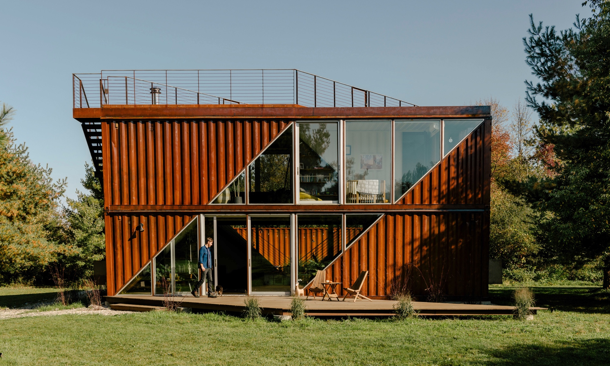 Just outside of Hudson, NY, Dave Sutton and Victoria Masters used shipping containers to build their home.