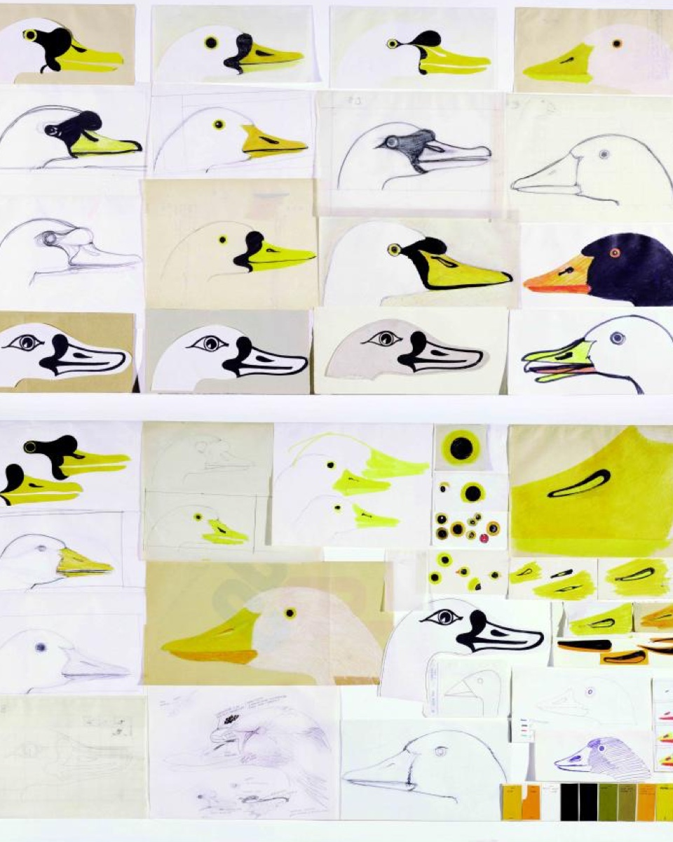Studies of a goose, by Mari. Animals appeared frequently in his illustration work and in the toys he designed.