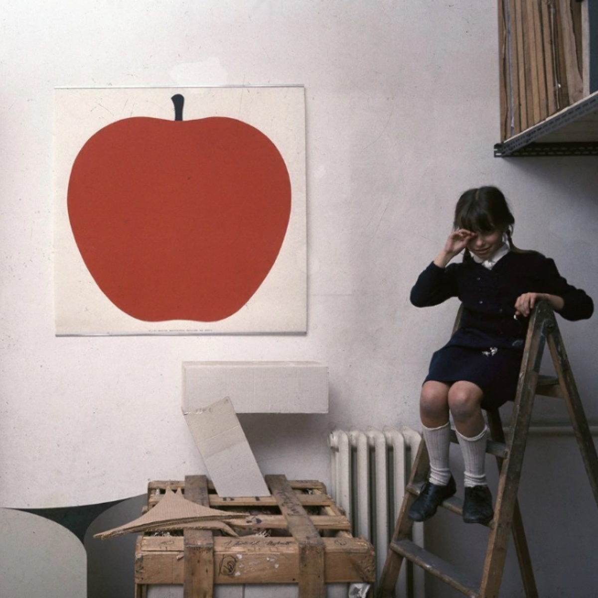 A series of graphic prints from the 1970s include images of an apple, a pear, and several animals.