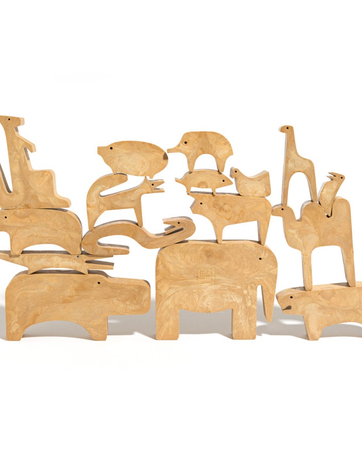 16 animals puzzle, disassembled.