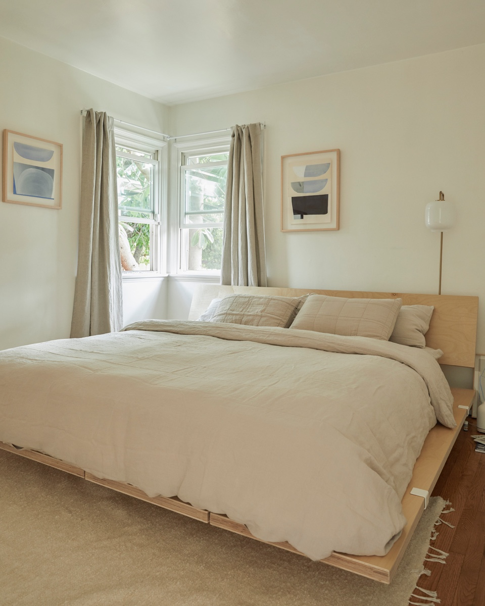 Soft linens from Brooklinen complete the bedroom.
