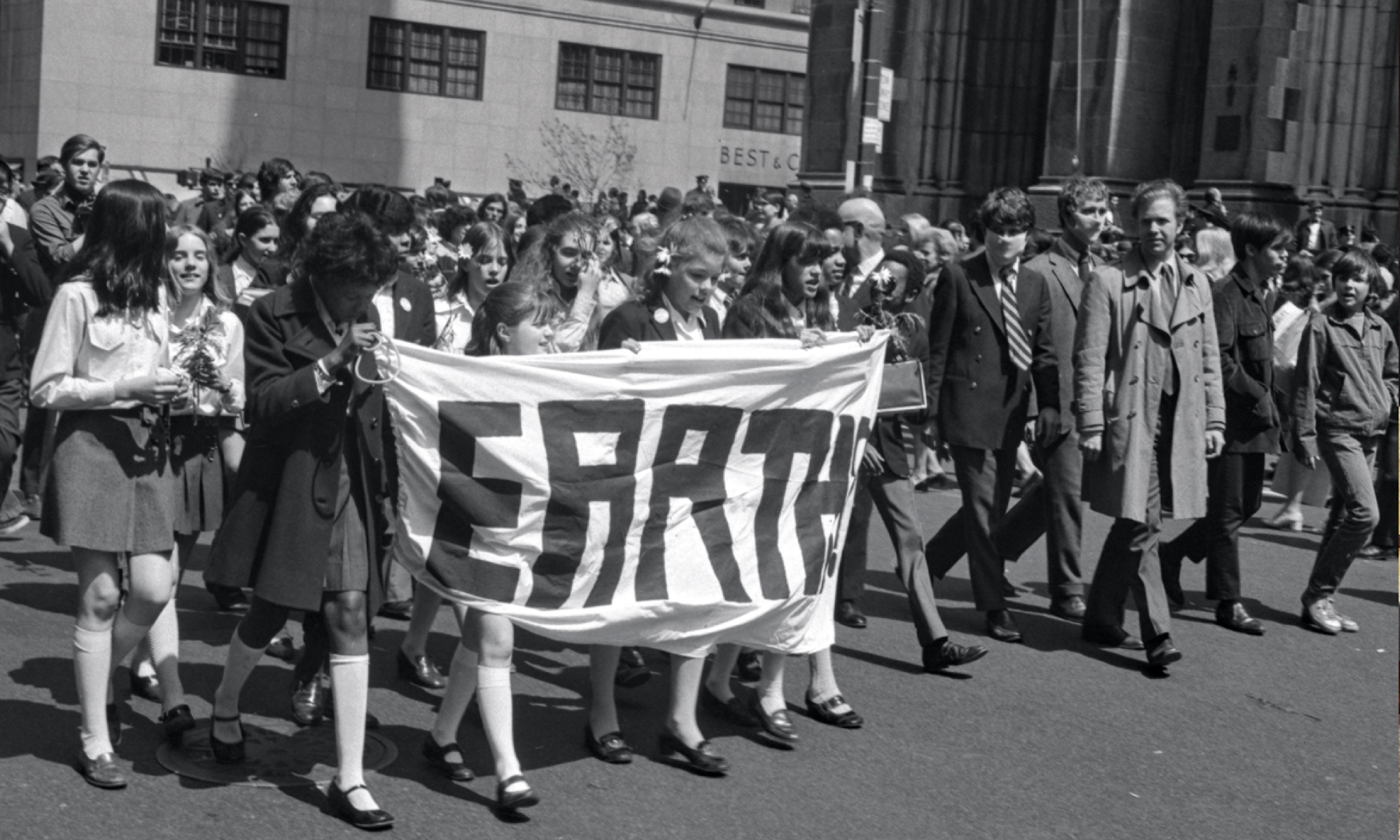 Protestors at Earth Day demonstrations, April 22nd 1970.