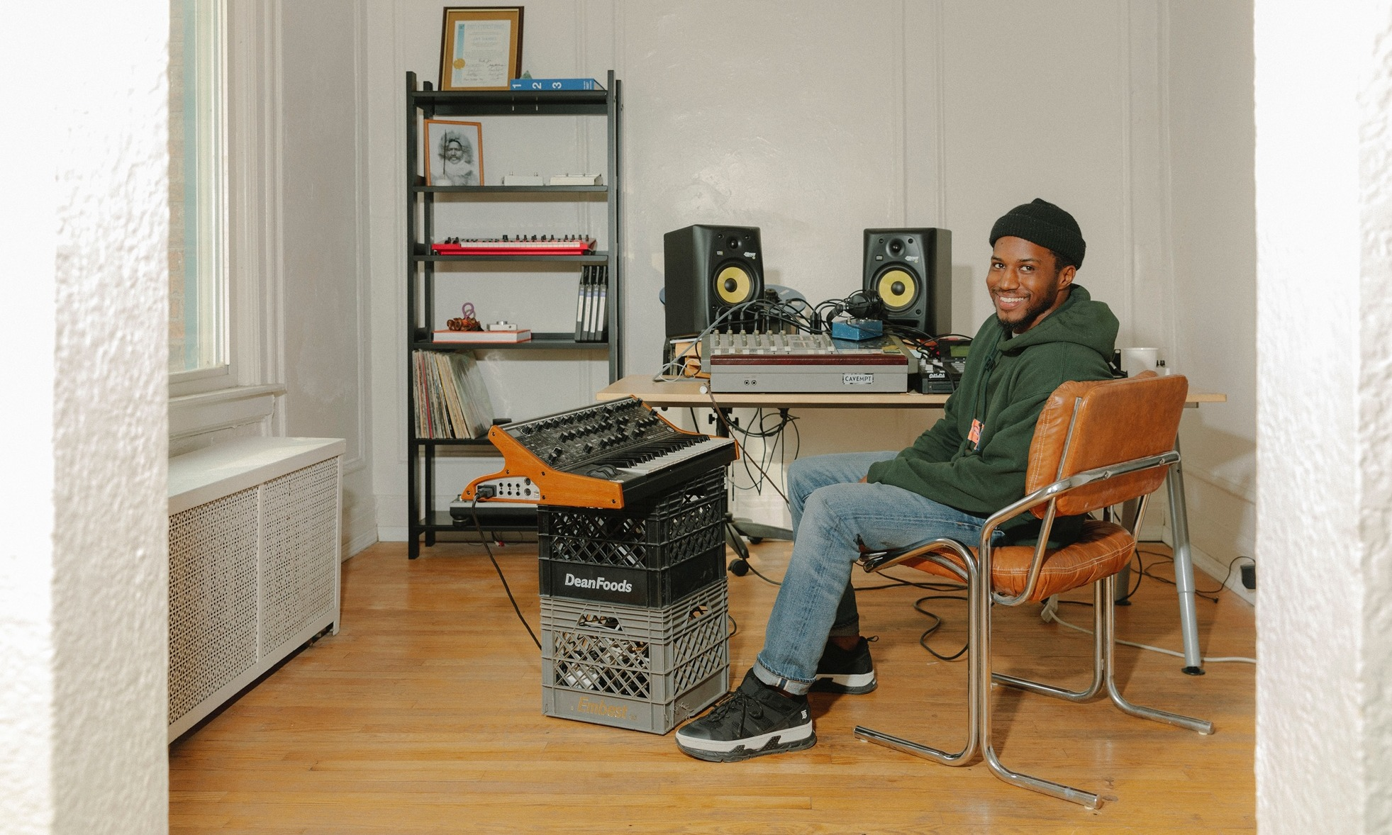 Jay Daniel with a Ghostly x Floyd shelf in his studio.
