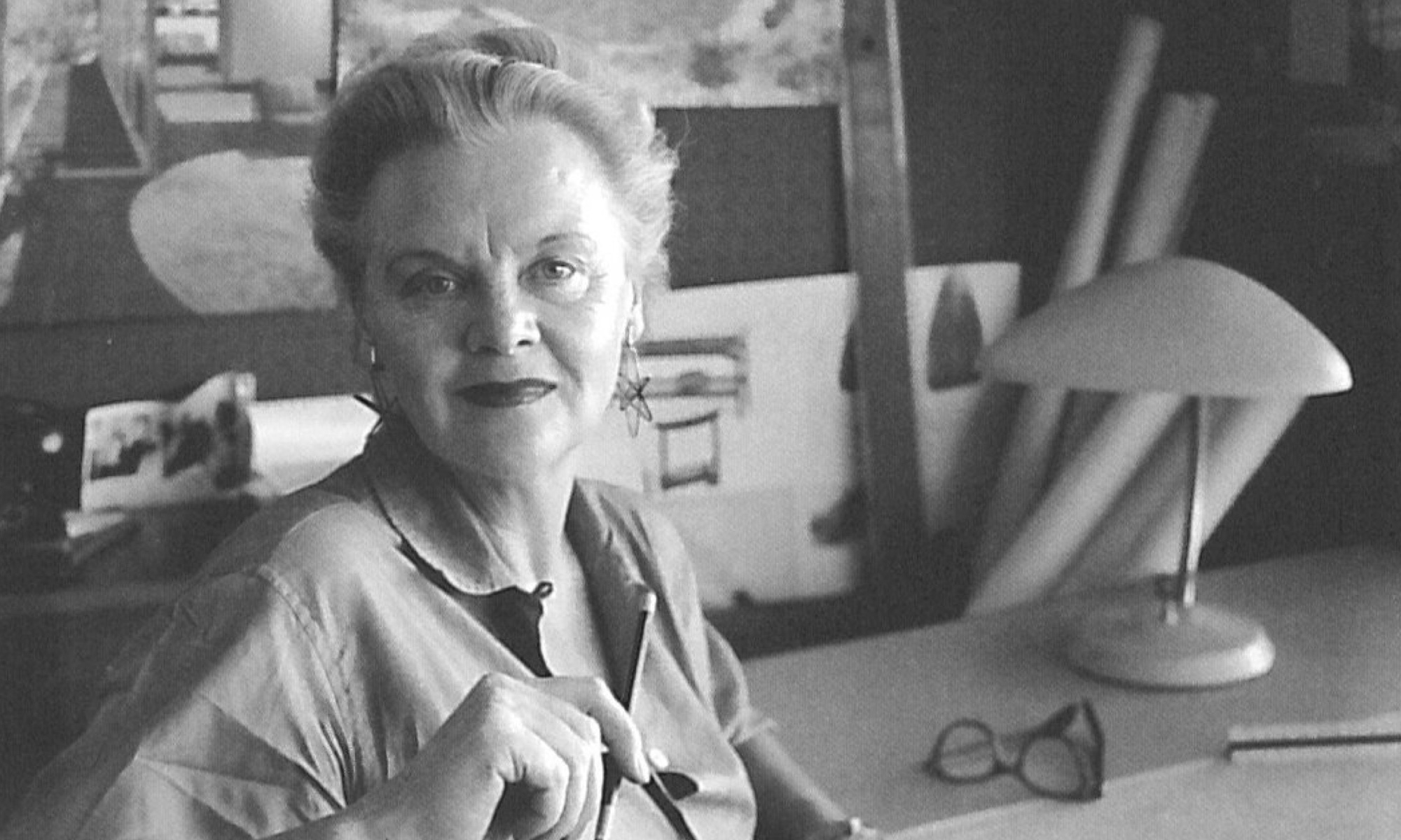 Greta Magnusson Grossman in her studio, at home in California. A 1959 portrait by Julius Schulman.