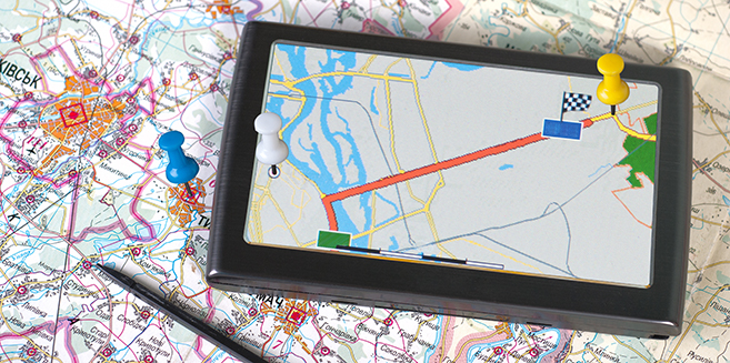 GPS navigation device with map