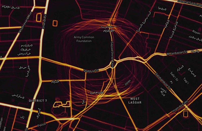 Circle Spoofing Blog Image 1 Strava heatmap from Tehran, showing circle spoofing pattern. Image courtesy of Dana Goward