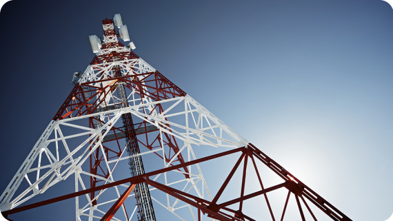 Sim 3D telecommunications tower with blue sky