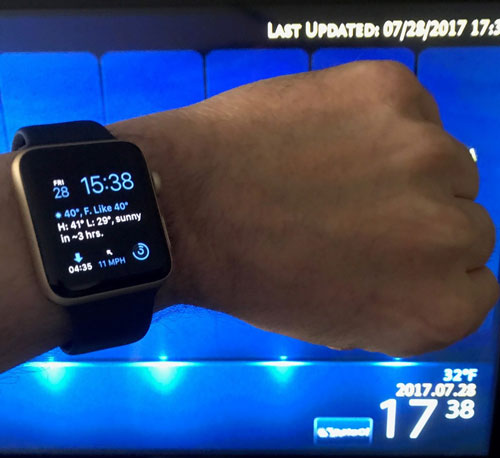 iWatch showing the hotel time that has been spoofed