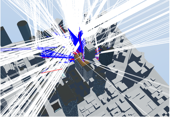 pnt-blog-2 Simulation of line of sight (white), reflected (red) and diffracted (blue) signals, San Francisco location
