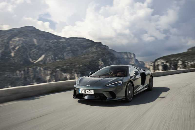The McLaren GT along a beautiful stretch of road