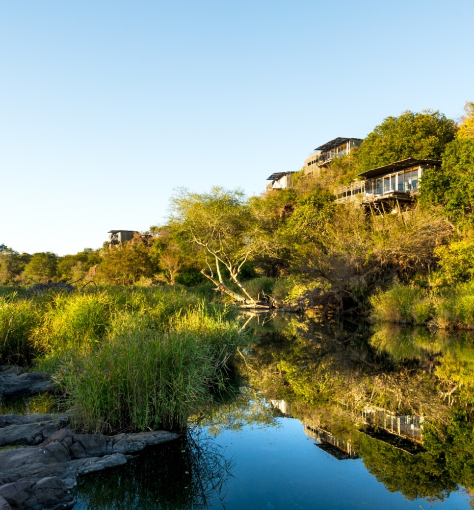 Lebombo lodge suspended aloft the N'wanetsi River in the Kruger National Park
