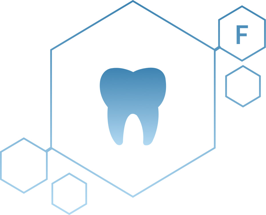 Icon of tooth inside a molecule