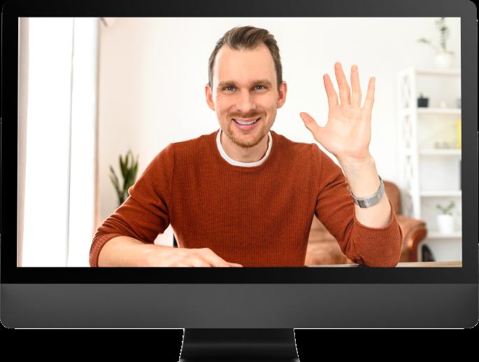 Sales representative on screen performing a virtual demo