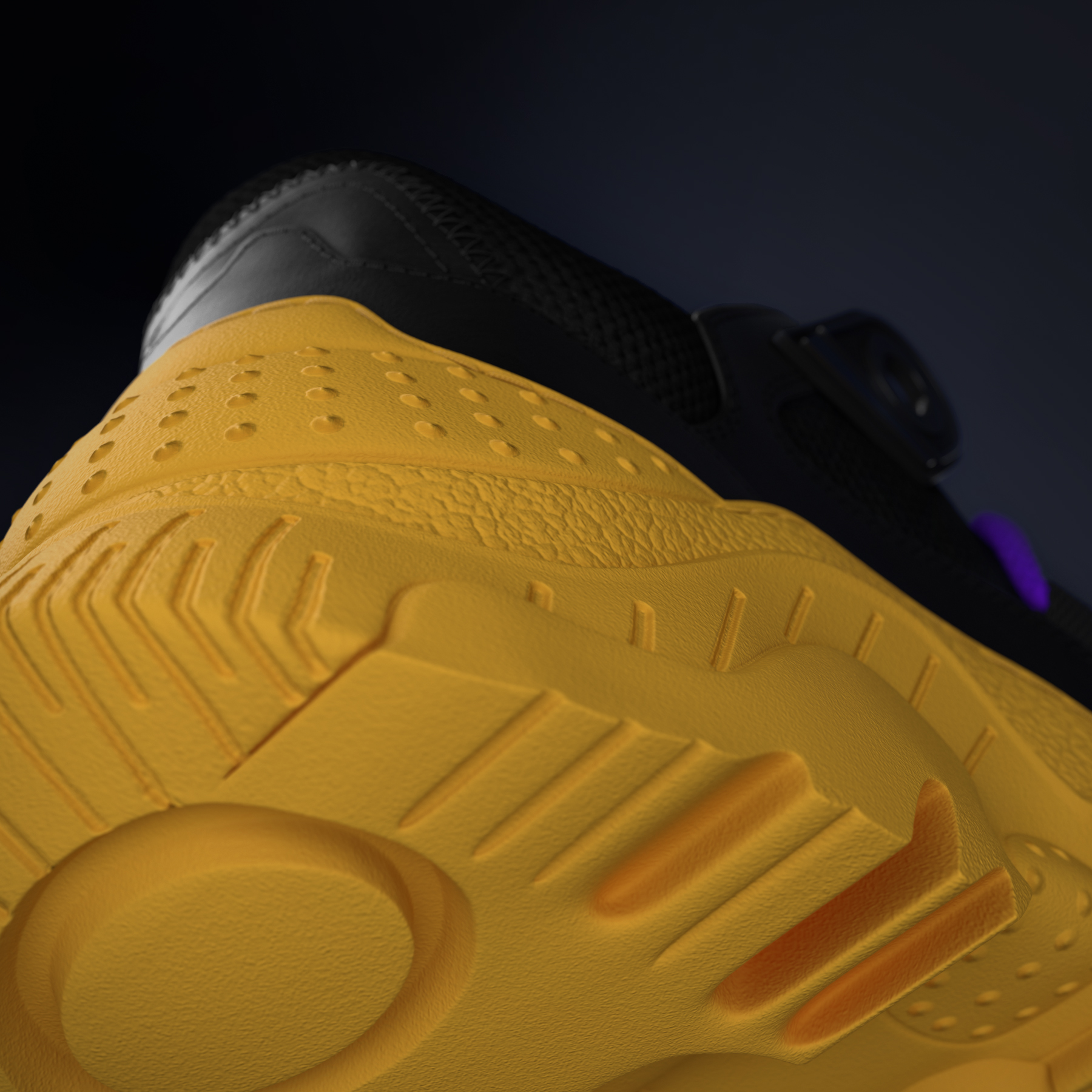 Sneaker's sole detail, down view.