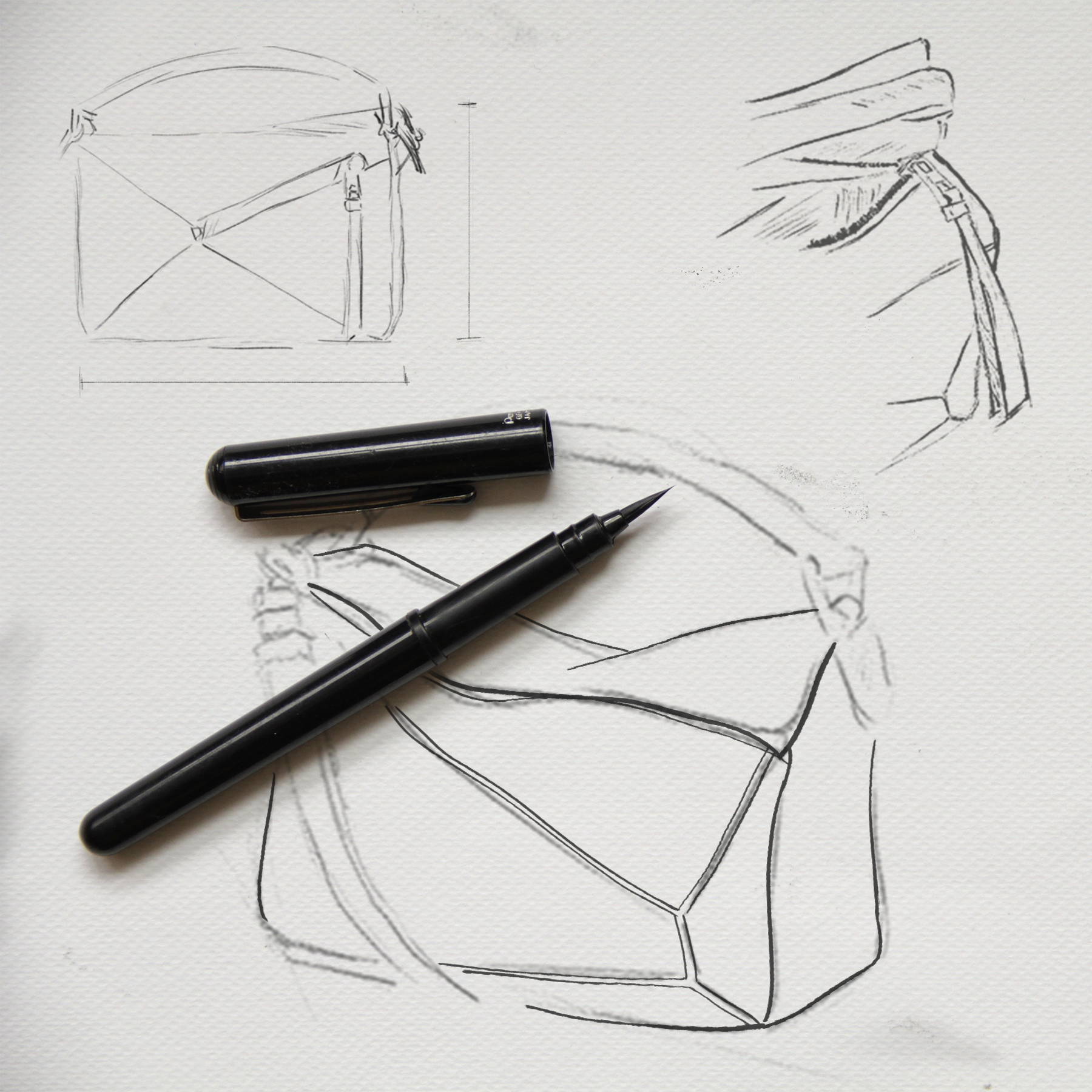 sketches of the puzzle bag at an early stage