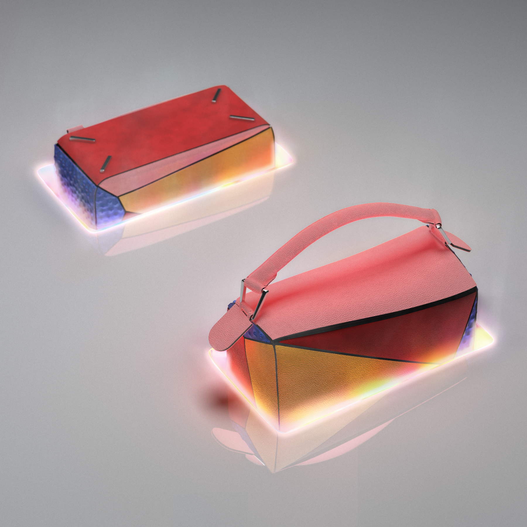 Perspective view of the bag going through light portals