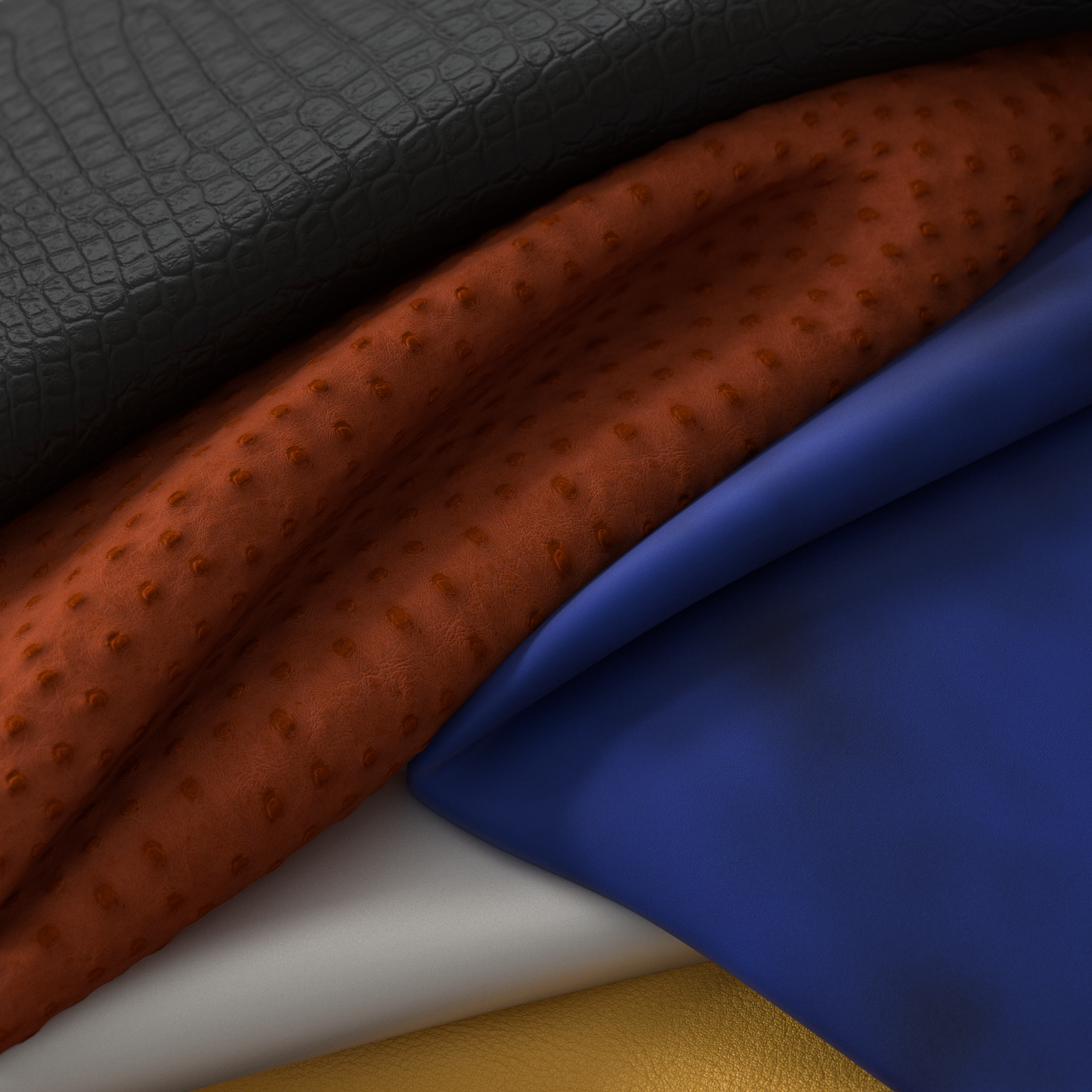 Close-up of different materials - crocodile, leathers and suede