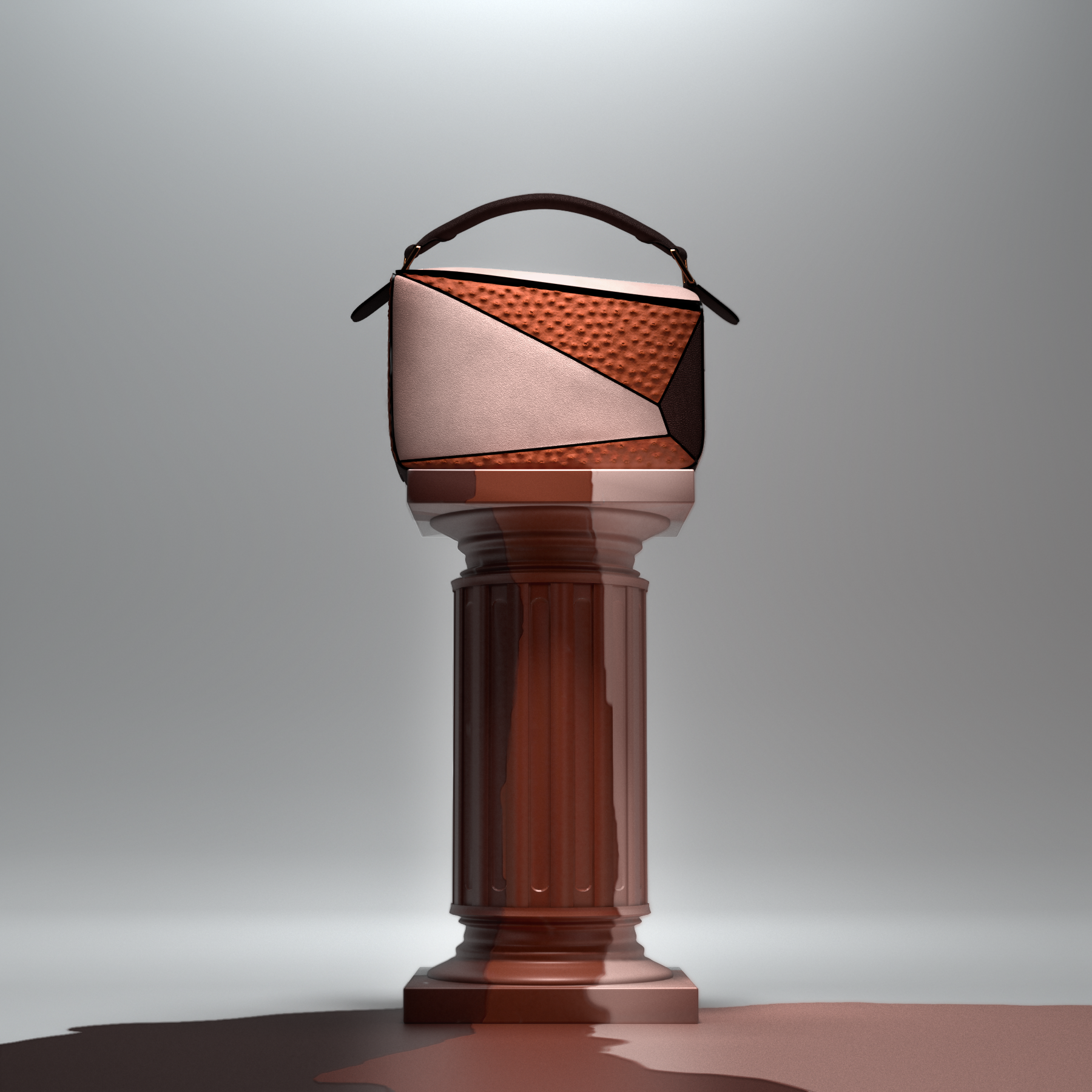 Puzzle Bag in brown and beige tones on top of a roman column