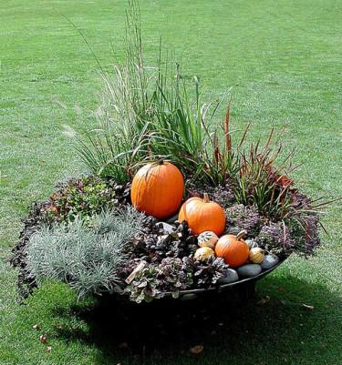 Kruka med tåliga gräs, höstglädjeväxter och pumpor.Foto: Sylvia Svensson