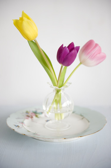 Sätt några få tulpaner i en liten vas.  Foto: Blomsterfrämjandet
