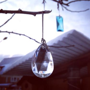 Gör det bästa av vintertiden i trädgården. Pynta träd med gamla prismor som hinner glimma till under de korta ljusa timmarna.
