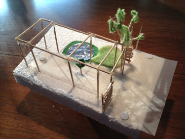 Jag bestämmer mig för att bygga en modell till pergolan som jag vill bygga!