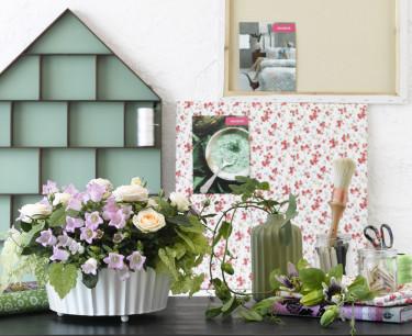 Rosa, lila och gröna nyanser i Vintage Bloom. Foto: Floradania