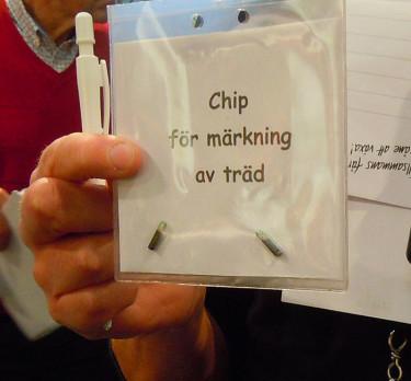 E-planta: Chip för märkning av träd. Foto: Sylvia Svensson