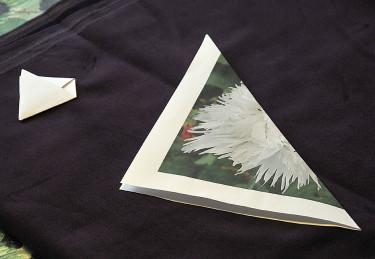 Enkla fröpåsen, vik papperet i diagonalen. Foto: Bernt Svensson