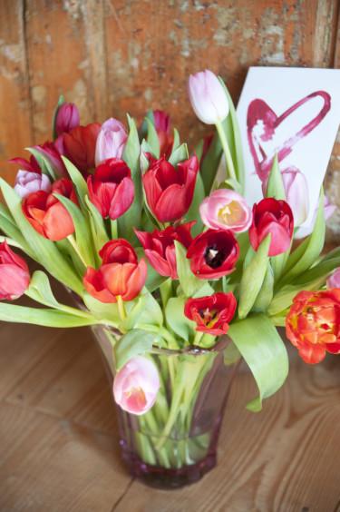 Alla Hjärtans tulpanbukett Foto: Blomsterfrämjandet