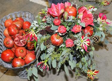 Rosa amaryllis med granatäpplen! Foto: Bernt Svensson