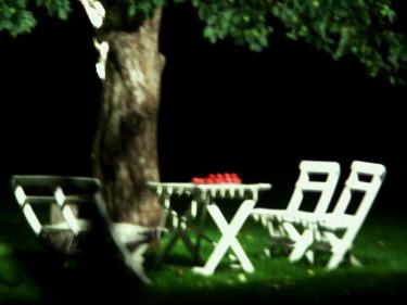Belyst sittgrupp under trädet.Foto: Sylvia Svensson