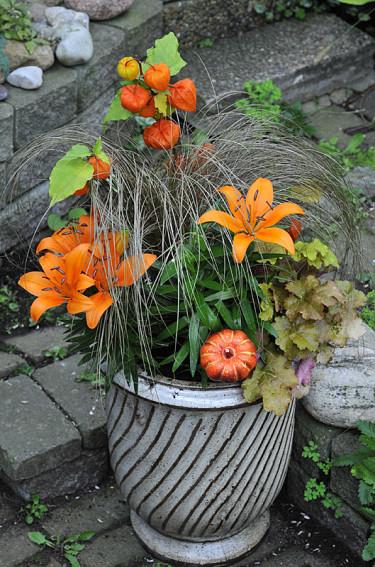 Judekörs, orange liljor, bronsstarr och alunrot. Foto: Bernt Svensson, arr: Sylvia Svensson