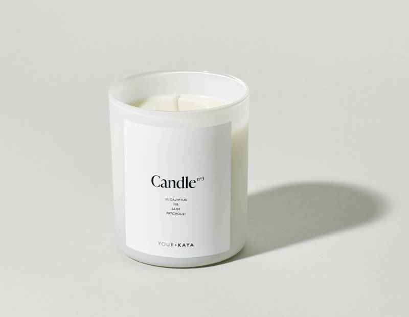 Your KAYA soy candle with a forest scent