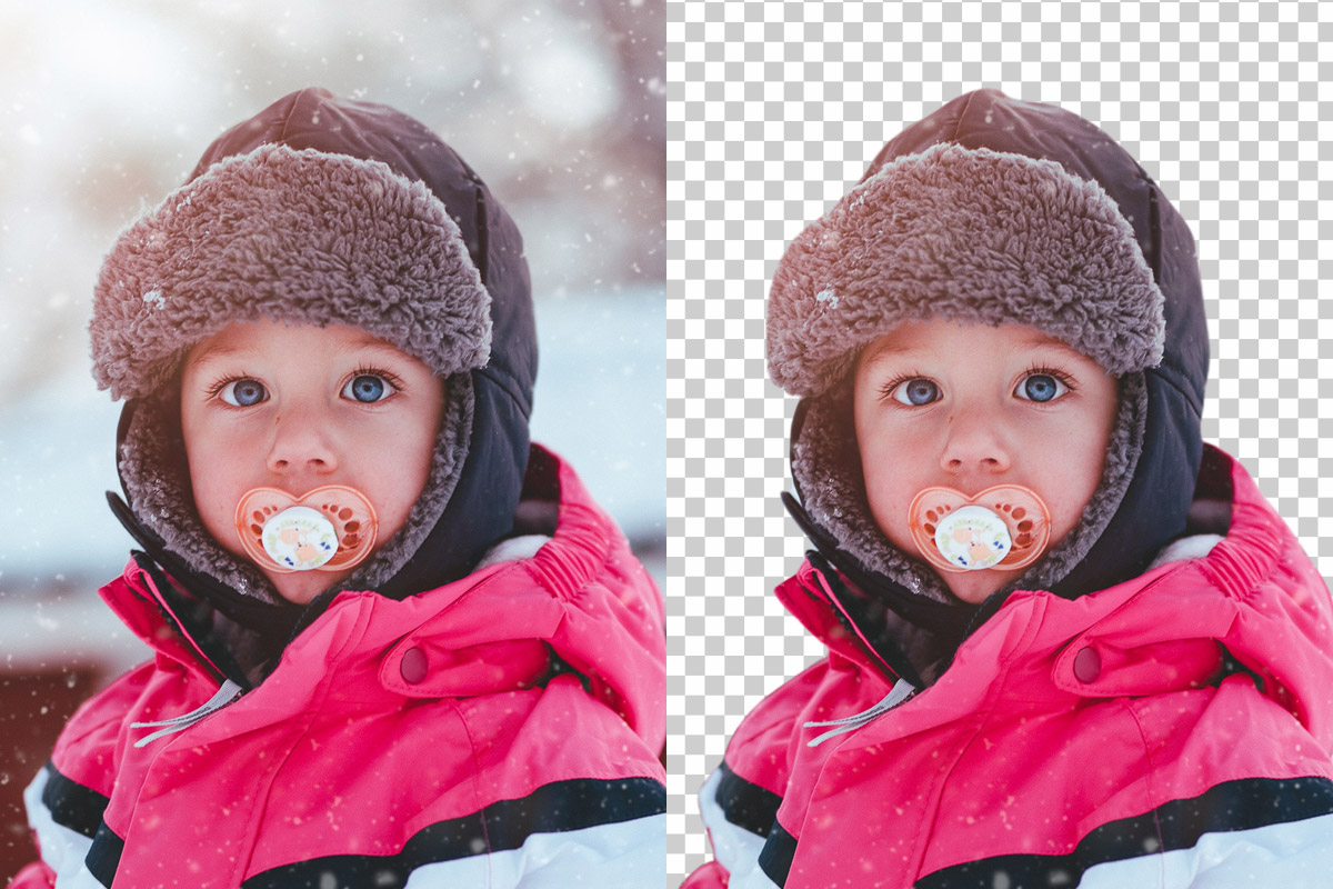 Trace removes background from photo of child in snow