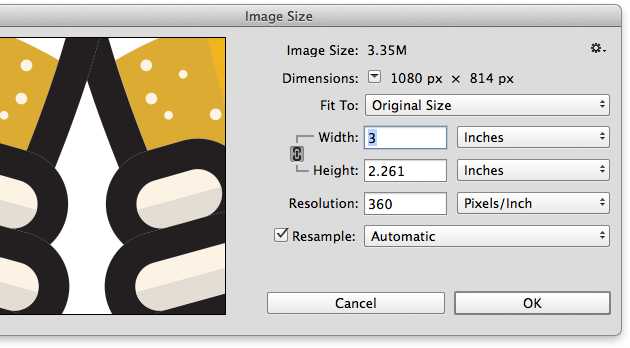 Image size dialog box in Photoshop
