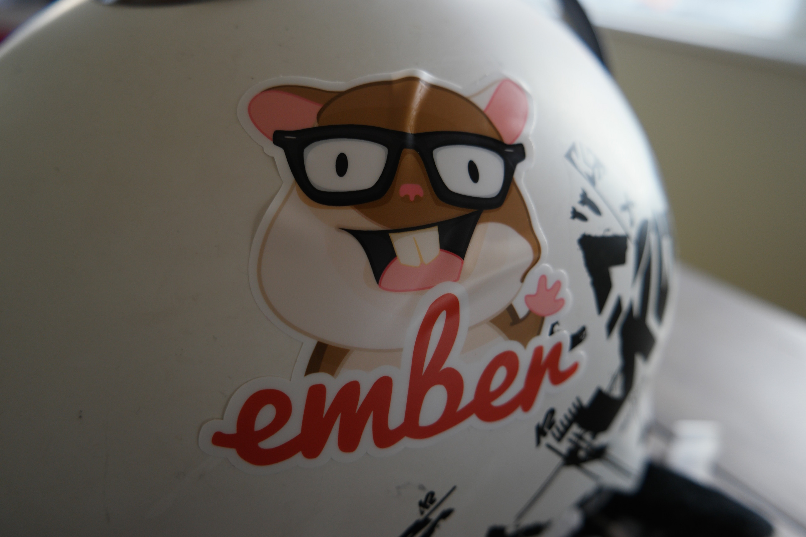 Helmet stickers on curved surface