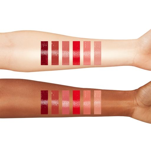 latex love lip glosses arm swatches