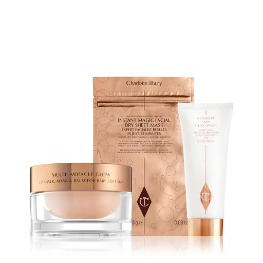 Flawless Face Mask kit Pack Shot with Multi Miracle Glow Moisturiser, Face Mask and Goddess Skin Clay Mask