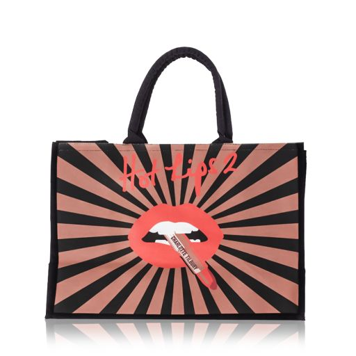 Hot Lips 2 Tote bag with a starburst print