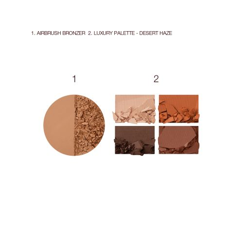 Airbrush Bronzer and Desert Haze Luxury Palette Swatches