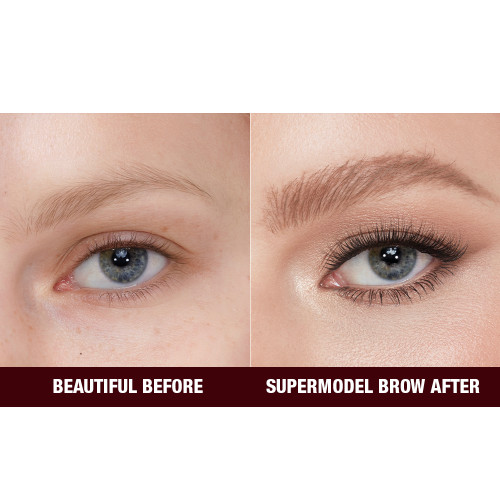 legendary Brows Model before and after image in shade Taupe