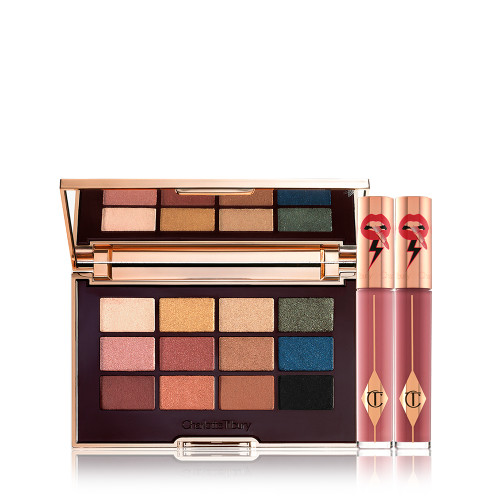 The Icon Lip Duo Day Look Pack Shot with the Icon Eyeshadow Palette and Two Latex Love Lip Gloss.