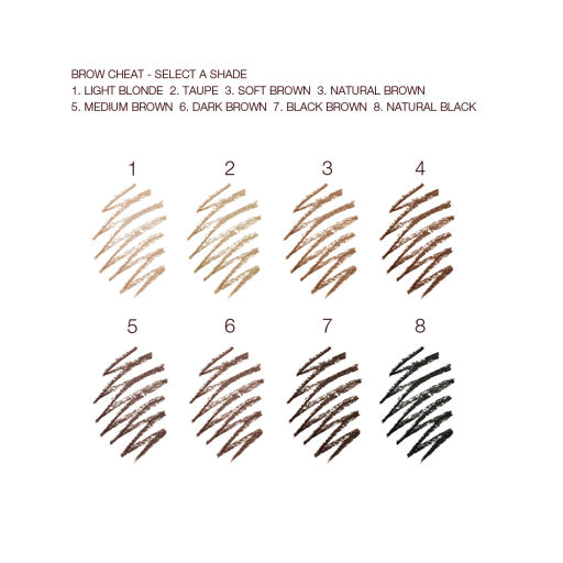 Brow Cheat Pencil swatches per shade